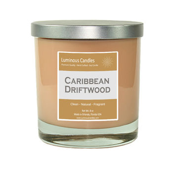 Soy Candle - Caribbean Driftwood Scented - 8 oz Rock Glass Hand Poured Jar Candle with Brushed Metal Lid