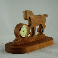 Prancing Horse Desk Or Shelf Clock Handmade From Cherry Wood, Horse Clock,Trotting Horse,