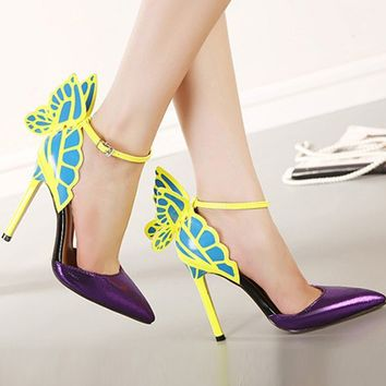 Butterfly Wings Pointed Toe Mixed Ankle Strap Pumps
