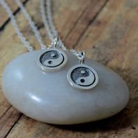 Yin Yang Friendship Necklace Set, sterling silver tiny bff charm necklace, 2 necklaces, set, ying yang