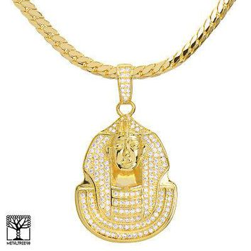 "Jewelry Kay style Men's Stoned Gold Plated Egyptian Pharaoh Pendant 24"" Chain Necklace BCH 13128 G"