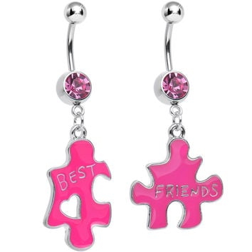Pink Crystal Double Puzzle Piece Best Friends Dangle Belly Ring Set