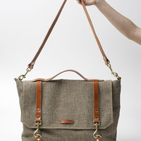 Large Canvas Leather Messenger Bag with italian leather straps