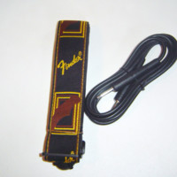 Fender Monogrammed Guitar Strap Strap Black Yellow Brown & Black Amp Cord Cable