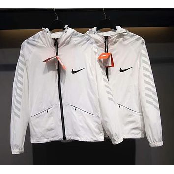 NIKE 2018 men and women couple models casual reflective windproof jacket F-CY-MN white