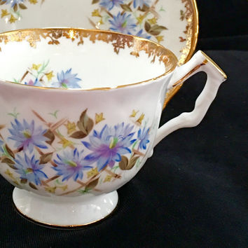 Royal Albert Sonnet Series Wordsworth Tea Cups, English Bone China Tea Cup, High Tea, Vintage Teacup and Saucer