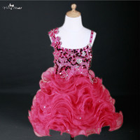 FG33 Bling Pink Kids Cocktail Dress Evening Gowns Pageant Dresses For Little Girls