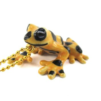 3D Porcelain Panamanian Golden Frog Shaped Ceramic Pendant Necklace