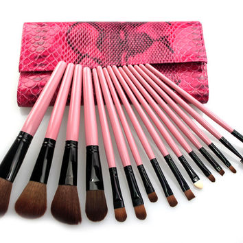 15-pcs Pink Makeup Brush Sets [11043673164]
