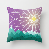 Mountains under the stars Throw Pillow by MirKat Design