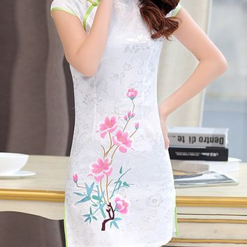 Streetstyle  Casual Band Collar Contrast Trim Floral Printed Bodycon Dress