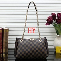 Louis Vuitton LV Women Fashion Leather Chain Tote Crossbody Satchel