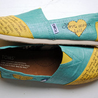 Ready to Ship Womens Size 8 - Love Bible Verse Hand Painted TOMS, Metallic Teal and Yellow, 1 Corinthians 13