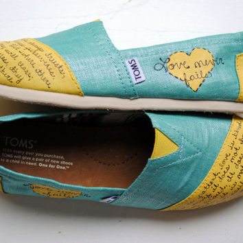 Womens Love Bible Verse Hand Painted TOMS, Metallic Teal and Yellow, 1 Corinthians 13, Custom hand painted shoes