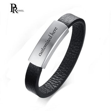 Genuine Leather Matte Finished Stainless Steel ID Tag Cuff Bangle Bracelet Free Engraving Customized Name