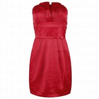 Bqueen Strapless Satin Dress Red 747R - Celebrity Dresses - Apparel