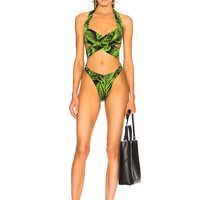 Norma Kamali High Leg Cross Over Swimsuit in Palm Leaf | FWRD