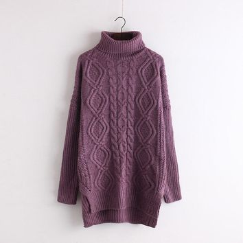 High Neck Cable Knit Irregular Loose Long Sweater