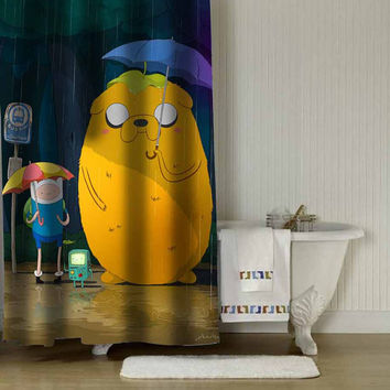 "adventure time + totoro shower curtain adorabel batheroom in Size : 36"" x 72"",48"" x 72"",60"" x 72"" & 66"" x 72""."