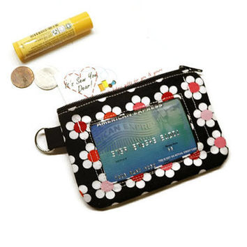Daisies zippered id wallet keychain with clear pocket. Black and pink. Gift for her. Women gifts.