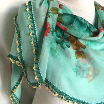 Green Elegant Floral Scarf Soft Cotton Turkish Oya Scarf Spring Floral Motifs Mother's Day Gift Idea For Woman And Teengirls