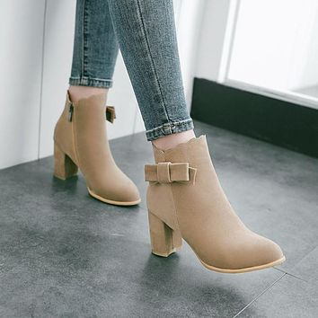 Slip On Bow High Heels Short Boots for Women 9143