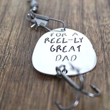 For a Reel - ly Great Dad Fishing Lure Hand Stamped Mens Fishing Lure Reel-ly Great Dad Fathers Day Birthday Christmas Gift For Dad Lure