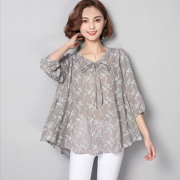 2017 New Summer Casual Women Blouse Loose Long Plus Size 5XL 6XL Print Tunic Shirt Floral Cotton Linen Top Half Sleeve Shirt