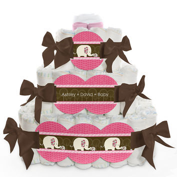 Pink Baby Elephant - Personalized Baby Shower Square Diaper Cakes - 3 Tier