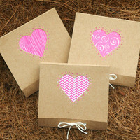 Matchbook Notepads - Set of Three Mini Kraft Love Heart Theme - Handcut and Hand Bound