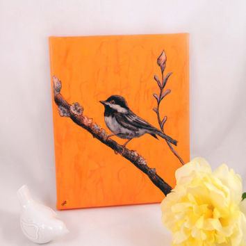 Bird Painting, Nature Drawing, Chickadee Art Canvas, Wall Art, Original Artwork, Small Bird Home Decor, Sweet, Wildlife, Orange Black White