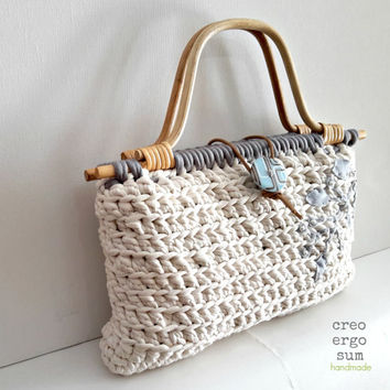 handbag crochet, white purse bag, cotton bag, japan style, white, light-gray, bamboo handle, spring, summer, gift for her