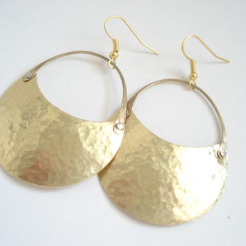 Handmade Gold Bronze Earrings-Hammered Metalwork Contemporary Earrings-Cold Conection Earrings-Unique Earrings