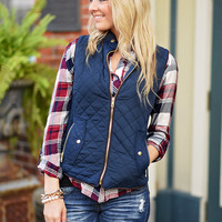 Quilted Vest - Navy