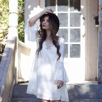 Bohemian dress, tent dress with bell sleeves, ivory dress with lace detailing and tie front, boho party dress