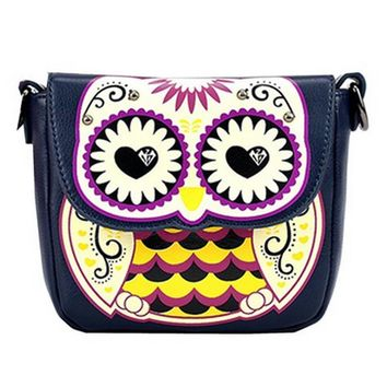 Abstract Owl Shaped Animal Themed Cross body Shoulder Bag for Women in Navy