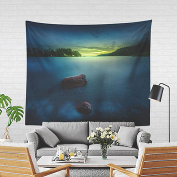 Wall Tapestry With Ocean Sunset Photography Print, Nautical Wall Art, Sea, Nature, Original, Fine Art, Wanderlust, Wall Decor, Home Decor