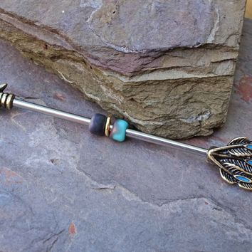 14g Gold Arrow Feathers Industrial Barbell Scaffold Piercing