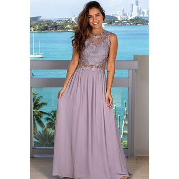 Light Gray Lace Top Maxi Dress with Tulle Back