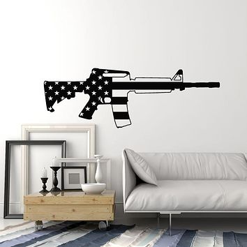 Vinyl Wall Decal Soldier Rifle Gun Weapon Military American Flag Patriotic Stickers Mural (g1429)