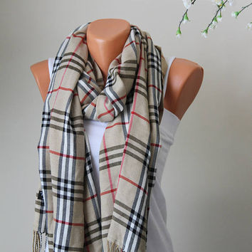Plaid Scarf-Blanket Scarf-Plaid Beige Scarf-Pashmina-Women Accessories-Mother Days Gİft-gift ideas-Fashion Scarf-Plaid Pashmina-Fashion
