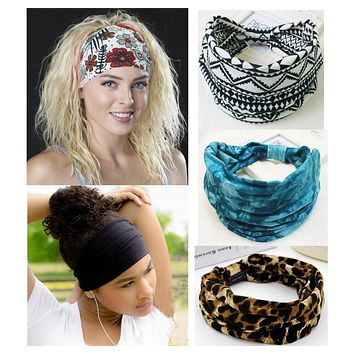 Bohemia BOHO Wide Cotton Stretch Women Headbands Headpiece Headwrap Turban Headwear Bandage Hair Bands Bandana Fascinator