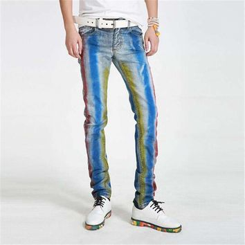 2017 spring and summer fashion Korean version slim feet straight tube painted print young jeans men's waist pants plus big yards