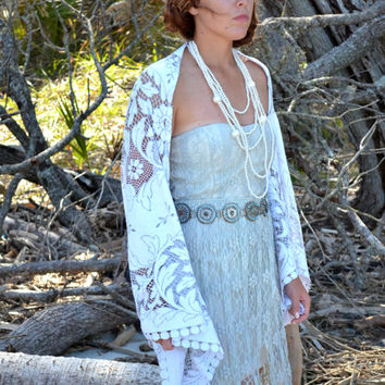 Festival Kimono shrug, Bohemian gypsy Stevie Nicks style Kimono, Romantic country clothes, Boho clothing True rebel clothing Spring 2015