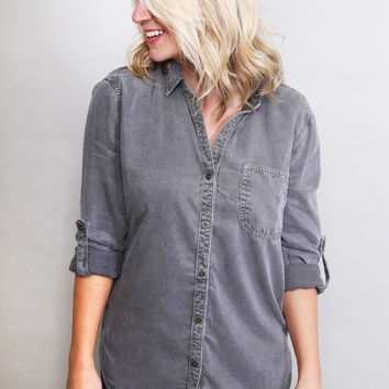 Button Down Gray Blouse