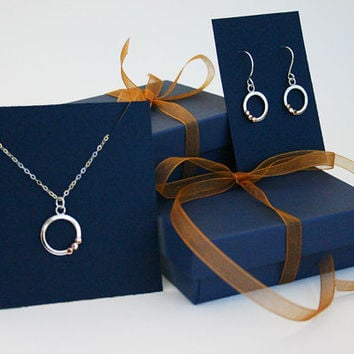 Matching rose gold and sterling silver hoop earrings and necklace. Gift set for her. Women's Christmas gift idea. 14K solid gold. Save 10%
