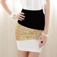 SHINY BLING BLACK AND WHITE AND GOLDEN SKIRT
