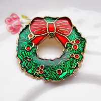 Christmas Brooch, Small Brooch, Christmas Wreath, Festive, Holidays, 1980s Brooch, 1990s Brooch, Fun, Red, Green, Gold - 1980s / 1990s