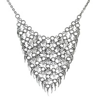 Silver Chain Bib With Pearls and Tooth Charms
