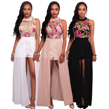 2017  Dress Women Plus Size Sexy Sleeveless Round Neck Embroidery Dress Women's Clothing Perspective Office Dress Casual Dress